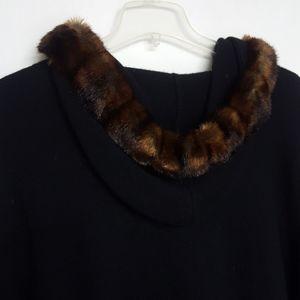 Ralph Lauren Faux Fur Hood Cardigan Toggle Button